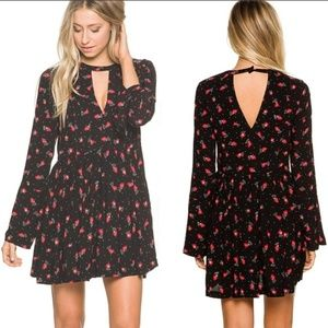 Free People Black & Red Tegan Print Mini Dress
